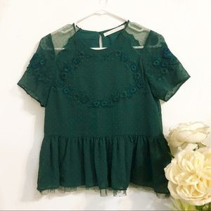 Zara Green Peplum Lace Embroidered Blouse Top in S